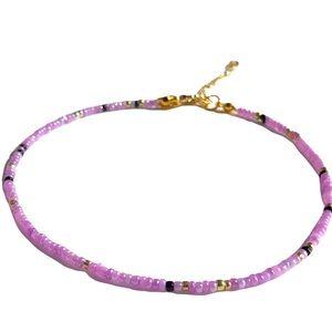 Tiny seed bead choker/Lavender